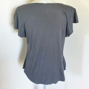 Matty M Womens Short Sleeve Loose Fitting Shirt Pearl Grey US Size L NWT